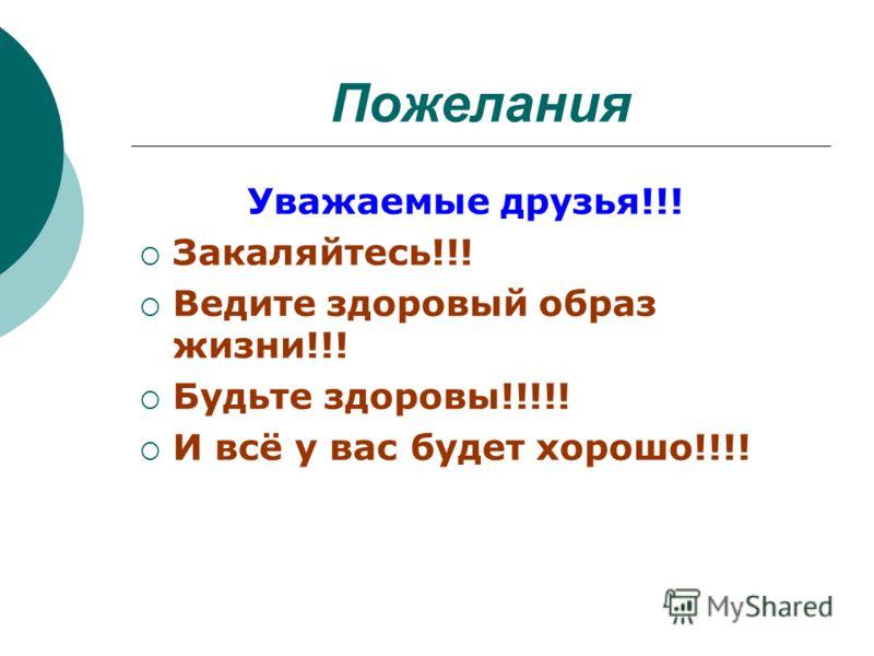 Пожелания Уважаемые друзья!!! Закаляйтесь!!! Ведите здоровый образ жизни!!! Будьте здоровы!!!!! И всё у вас будет хорошо!!!!