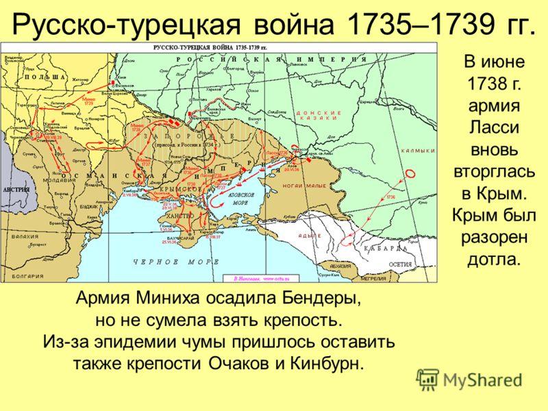 Русско-турецкая война 1735–1739 гг. Армия Миниха осадила Бендеры, но не сумела взять крепость. Из-за эпидемии чумы пришлось оставить также крепости Очаков и Кинбурн. В июне 1738 г. армия Ласси вновь вторглась в Крым. Крым был разорен дотла.
