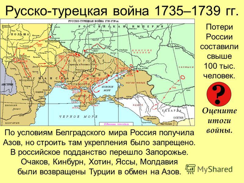 Русско-турецкая война 1735–1739 гг. Потери России составили свыше 100 тыс. человек. Оцените итоги войны. По условиям Белградского мира Россия получила Азов, но строить там укрепления было запрещено. В российское подданство перешло Запорожье. Очаков,