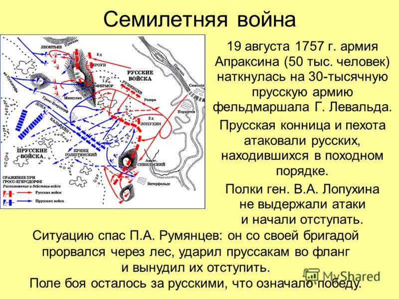 Семилетняя война 19 августа 1757 г. армия Апраксина (50 тыс. человек) наткнулась на 30-тысячную прусскую армию фельдмаршала Г. Левальда. Прусская конница и пехота атаковали русских, находившихся в походном порядке. Полки ген. В.А. Лопухина не выдержа