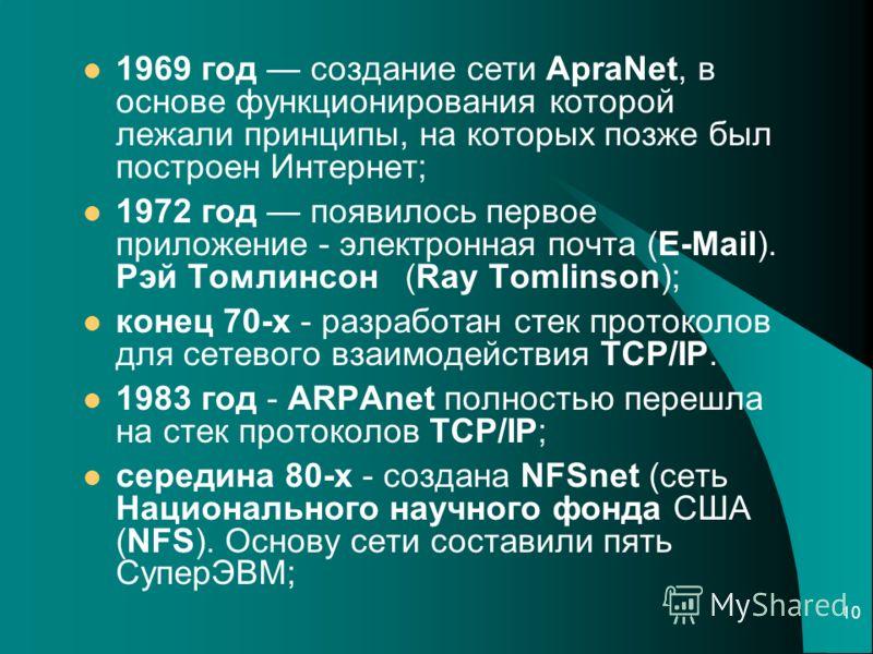 10 1969 год создание сети ApraNet, в основе функционирования которой лежали принципы, на которых позже был построен Интернет; 1972 год появилось первое приложение - электронная почта (E-Mail). Рэй Томлинсон (Ray Tomlinson); конец 70-х - разработан ст