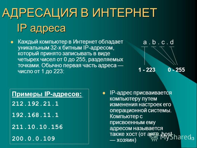 13 IP адреса IP-адрес присваивается компьютеру путем изменения настроек его операционной системы. Компьютер с присвоенным ему адресом называется также хост (от англ. host хозяин) a. b. c. d 0 - 2551 - 223 Примеры IP-адресов: 212.192.21.1 192.168.11.1