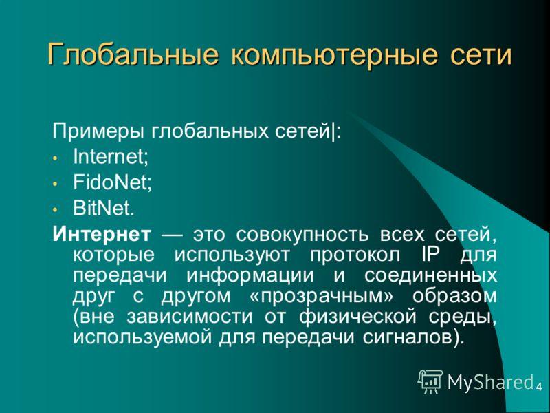 4 Примеры глобальных сетей|: Internet; FidoNet; BitNet. Интернет это совокупность всех сетей, которые используют протокол IP для передачи информации и соединенных друг с другом «прозрачным» образом (вне зависимости от физической среды, используемой д