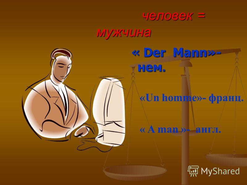 человек = мужчина человек = мужчина « Der Mann»- нем. «Un homme»- франц. « A man »- англ.