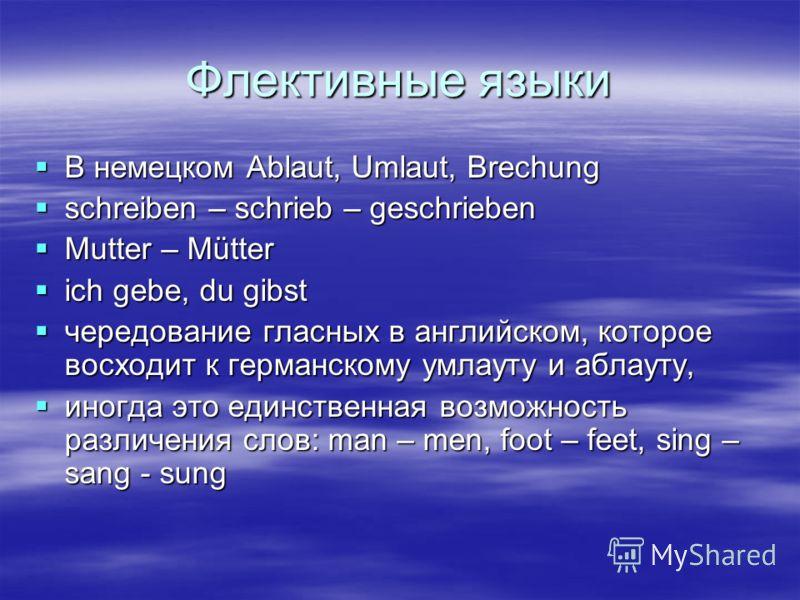 Флективные языки В немецком Ablaut, Umlaut, Brechung В немецком Ablaut, Umlaut, Brechung schreiben – schrieb – geschrieben schreiben – schrieb – geschrieben Mutter – Mütter Mutter – Mütter ich gebe, du gibst ich gebe, du gibst чередование гласных в а