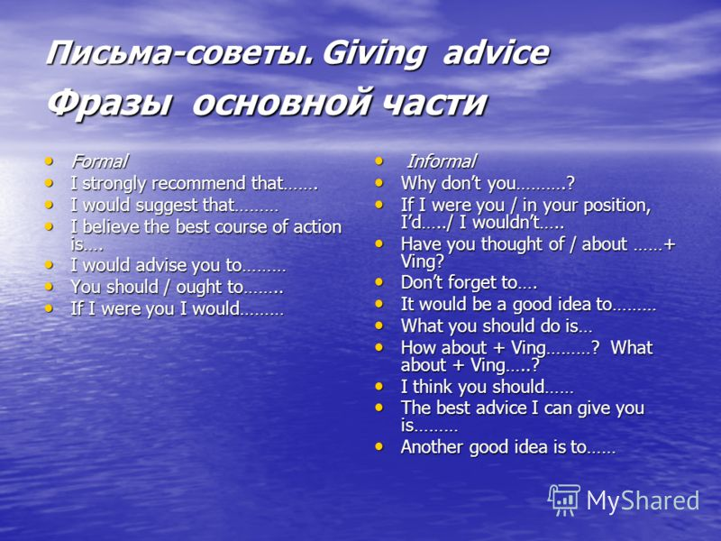 Письма-советы. Giving advice Фразы основной части Formal Formal I strongly recommend that……. I strongly recommend that……. I would suggest that……… I would suggest that……… I believe the best course of action is…. I believe the best course of action is…