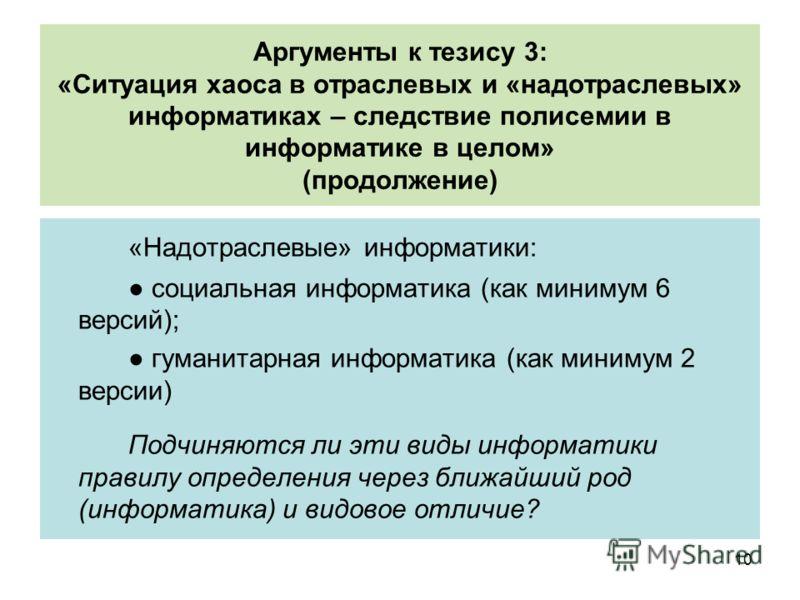 Аргументы к тезису 3: «Ситуация хаоса в отраслевых и «надотраслевых» информатиках – следствие полисемии в информатике в целом» (продолжение) «Надотраслевые» информатики: социальная информатика (как минимум 6 версий); гуманитарная информатика (как мин
