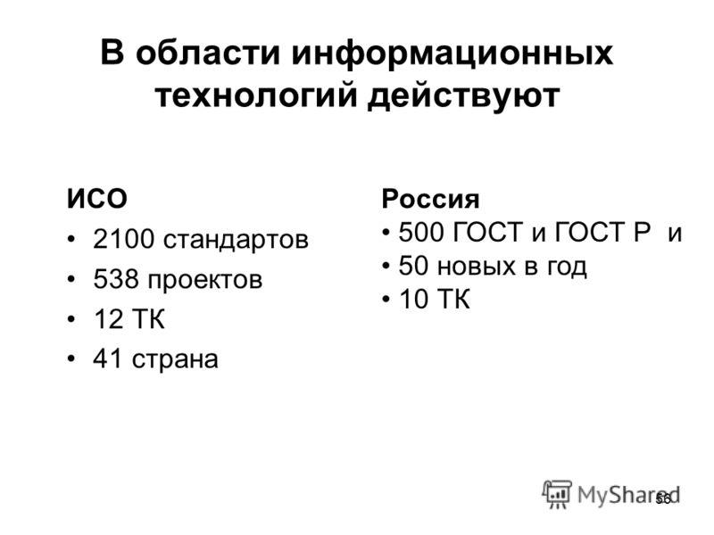 56 В области информационных технологий действуют ИСО 2100 стандартов 538 проектов 12 ТК 41 страна Россия 500 ГОСТ и ГОСТ Р и 50 новых в год 10 ТК