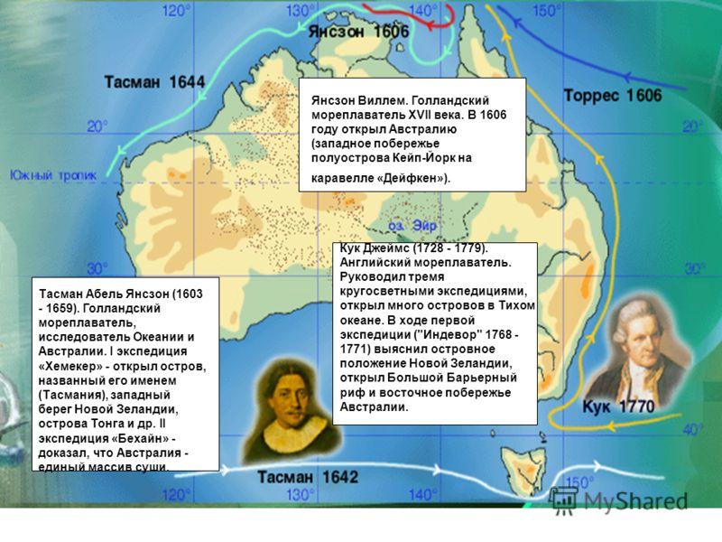 Янсзон Виллем. Голландский мореплаватель XVII века. В 1606 году открыл Австралию (западное побережье полуострова Кейп-Йорк на каравелле «Дейфкен»). Тасман Абель Янсзон (1603 - 1659). Голландский мореплаватель, исследователь Океании и Австралии. I экс
