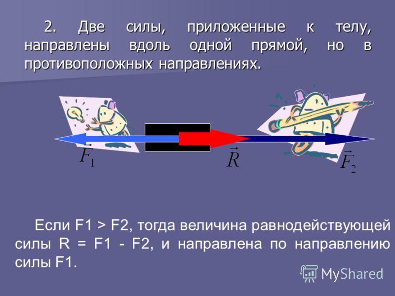 2. Две силы, приложенные к телу, направлены вдоль одной прямой, но в противоположных направлениях. Если F1 > F2, тогда величина равнодействующей силы R = F1 - F2, и направлена по направлению силы F1.