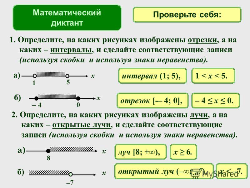1. Определите, на каких рисунках изображены отрезки, а на каких – интервалы, и сделайте соответствующие записи (используя скобки и используя знаки неравенства). интервал (1; 5),1 < x < 5. отрезок [-– 4; 0],– 4 x 0. Математический диктант Проверьте се