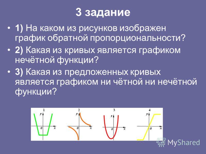 3 задание 1) На каком из рисунков изображен график обратной пропорциональности? 2) Какая из кривых является графиком нечётной функции? 3) Какая из предложенных кривых является графиком ни чётной ни нечётной функции?