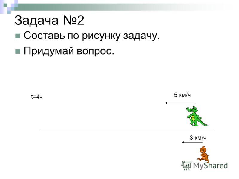 Задача 2 Составь по рисунку задачу. Придумай вопрос. 3 км/ч 5 км/ч t=4ч