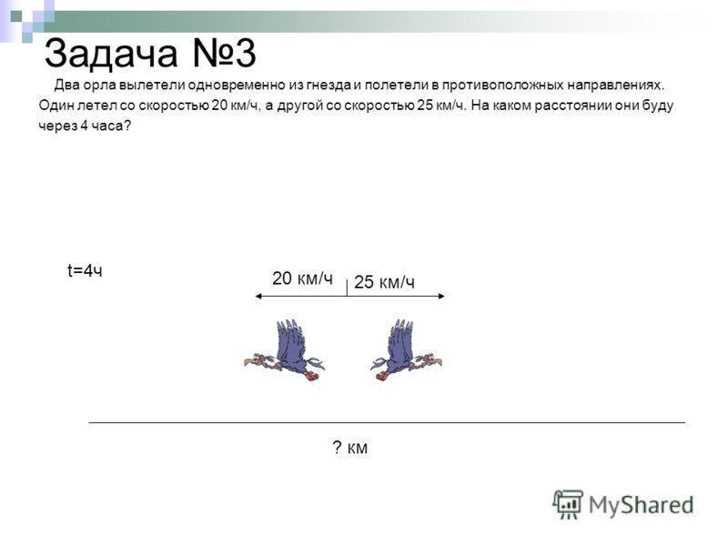 Задача 3 Два орла вылетели одновременно из гнезда и полетели в противоположных направлениях. Один летел со скоростью 20 км/ч, а другой со скоростью 25 км/ч. На каком расстоянии они буду через 4 часа? 25 км/ч 20 км/ч ? км t=4ч