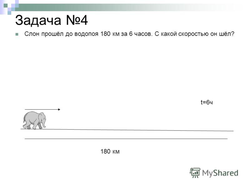 Задача 4 Слон прошёл до водопоя 180 км за 6 часов. С какой скоростью он шёл? 180 км t=6ч