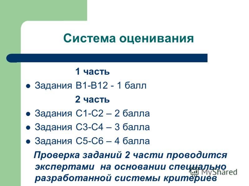 Система оценивания 1 часть Задания В1-В12 - 1 балл 2 часть Задания С1-С2 – 2 балла Задания С3-С4 – 3 балла Задания С5-С6 – 4 балла Проверка заданий 2 части проводится экспертами на основании специально разработанной системы критериев
