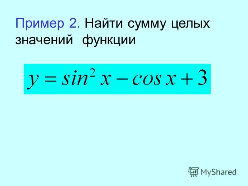 Пример 2. Найти сумму целых значений функции