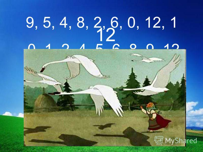 9, 5, 4, 8, 2, 6, 0, 12, 1 0, 1, 2, 4, 5, 6, 8, 9, 12 12