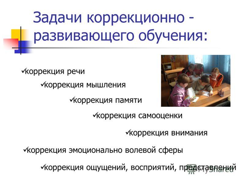 Задачи коррекционно - развивающего обучения: коррекция речи коррекция мышления коррекция эмоционально волевой сферы коррекция ощущений, восприятий, представлений коррекция памяти коррекция внимания коррекция самооценки