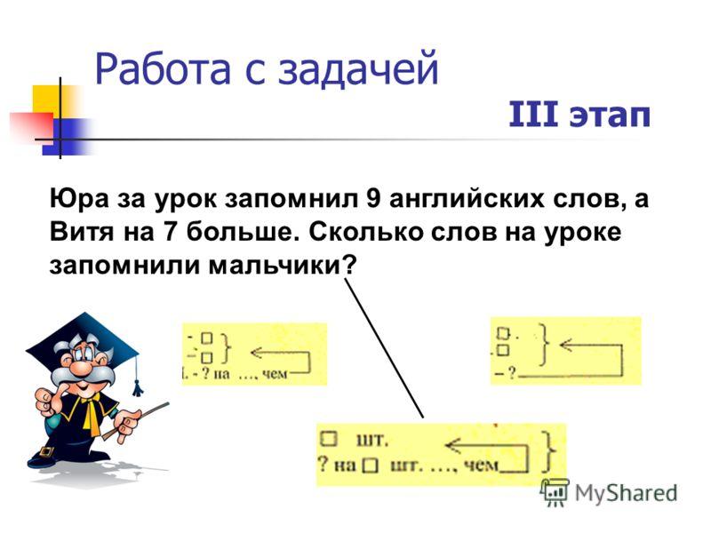 Работа с задачей III этап Юра за урок запомнил 9 английских слов, а Витя на 7 больше. Сколько слов на уроке запомнили мальчики?