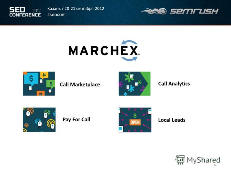 Казань / 20-21 сентября 2012 # seoconf 16 Call Marketplace Pay For Call Call Analytics Local Leads