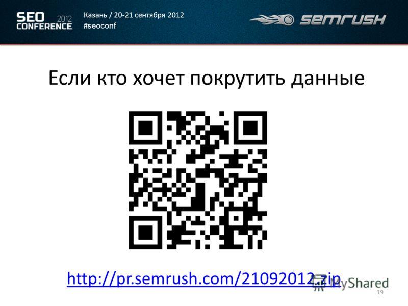 Казань / 20-21 сентября 2012 # seoconf Если кто хочет покрутить данные http://pr.semrush.com/21092012.zip 19