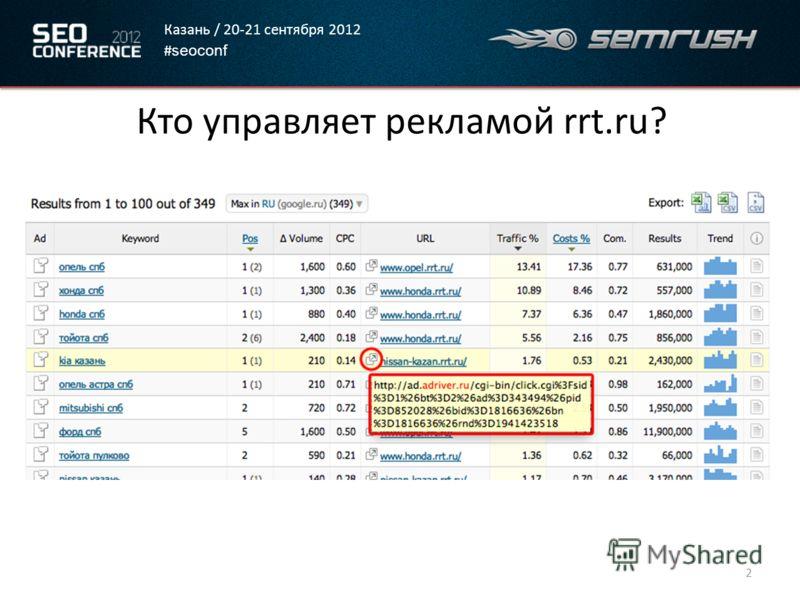 Казань / 20-21 сентября 2012 # seoconf Кто управляет рекламой rrt.ru? 2