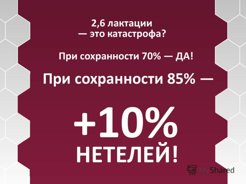 2,6 лактации это катастрофа? При сохранности 70% ДА! При сохранности 85% +10% НЕТЕЛЕЙ!