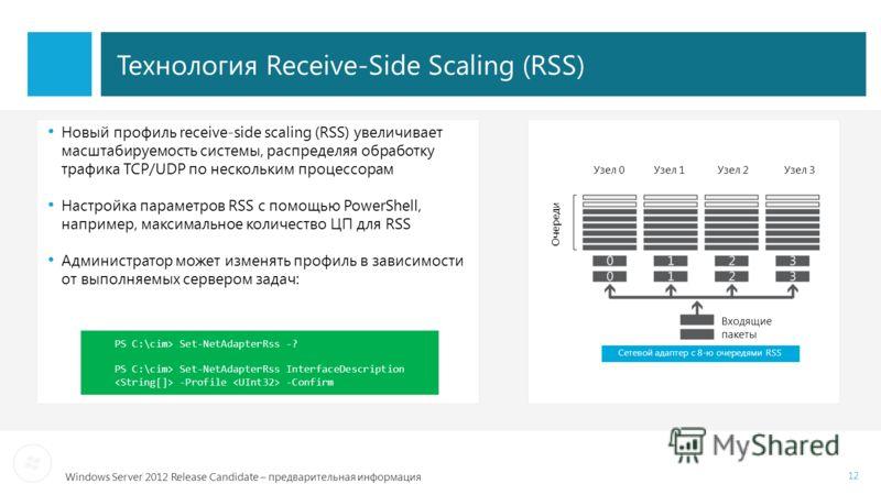 Windows Server 2012 Release Candidate – предварительная информация Технология Receive-Side Scaling (RSS) Узел 0 Узел 1 Узел 2 Узел 3 Новый профиль receive-side scaling (RSS) увеличивает масштабируемость системы, распределяя обработку трафика TCP/UDP
