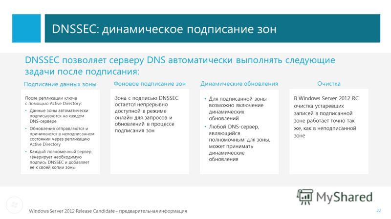 Windows Server 2012 Release Candidate – предварительная информация 22 DNSSEC: динамическое подписание зон После репликации ключа с помощью Active Directory: Данные зоны автоматически подписываются на каждом DNS-сервере Обновления отправляются и прини