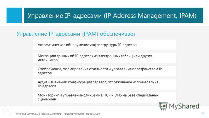Windows Server 2012 Release Candidate – предварительная информация 24 Управление IP-адресами (IP Address Management, IPAM) Автоматическое обнаружение инфраструктуры IP-адресов Миграцию данных об IP-адресах из электронных таблиц или других источников