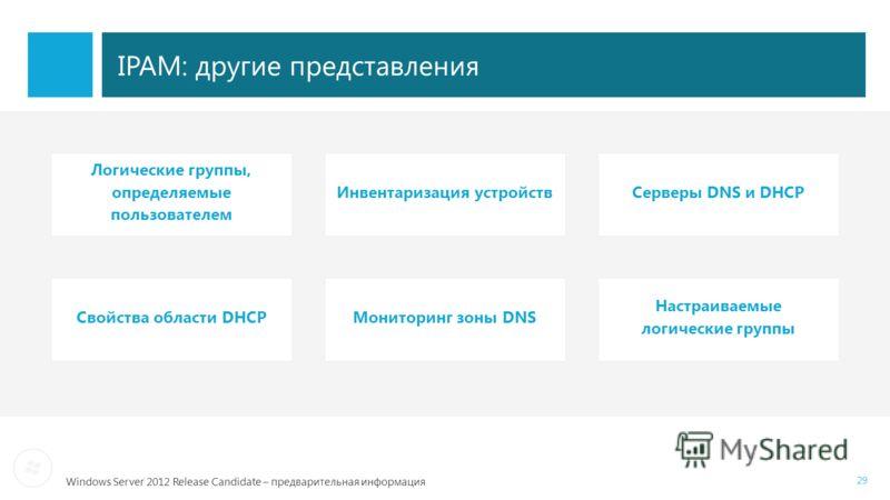 Windows Server 2012 Release Candidate – предварительная информация Инвентаризация устройств Логические группы, определяемые пользователем Серверы DNS и DHCP Мониторинг зоны DNSСвойства области DHCP Настраиваемые логические группы 29 IPAM: другие пред