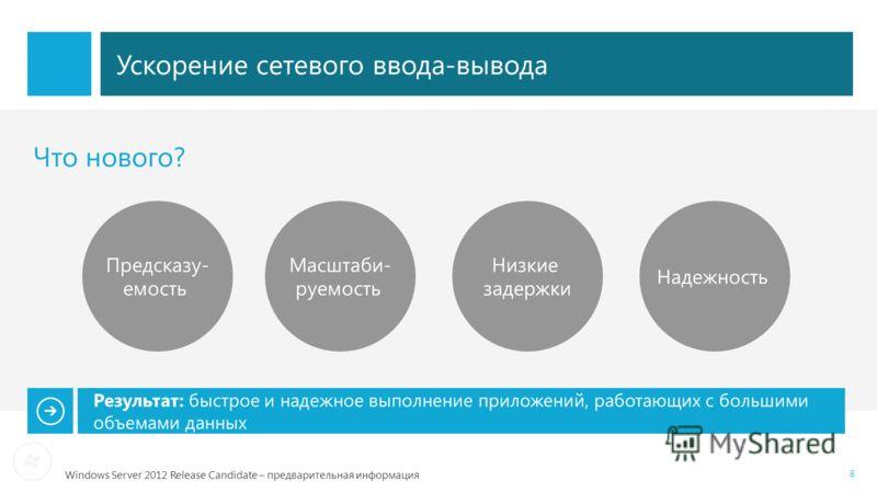 Windows Server 2012 Release Candidate – предварительная информация 8 Ускорение сетевого ввода-вывода Что нового? Предсказу- емость Масштаби- руемость Низкие задержки Результат: быстрое и надежное выполнение приложений, работающих с большими объемами