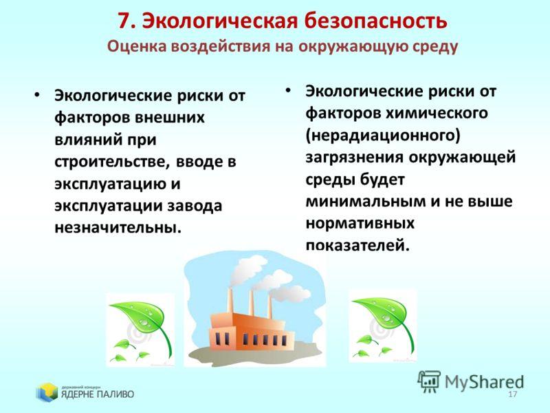17 Экологические риски от факторов внешних влияний при строительстве, вводе в эксплуатацию и эксплуатации завода незначительны. Экологические риски от факторов химического (нерадиационного) загрязнения окружающей среды будет минимальным и не выше нор