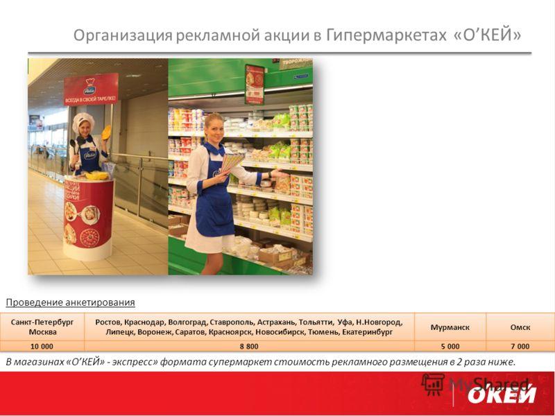 Организация рекламной акции в Гипермаркетах «ОКЕЙ» 14 В магазинах «ОКЕЙ» - экспресс» формата супермаркет стоимость рекламного размещения в 2 раза ниже. Проведение анкетирования