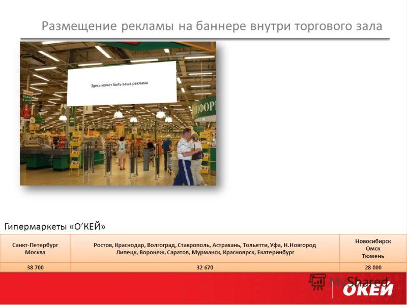 Размещение рекламы на баннере внутри торгового зала 5 Гипермаркеты «ОКЕЙ»