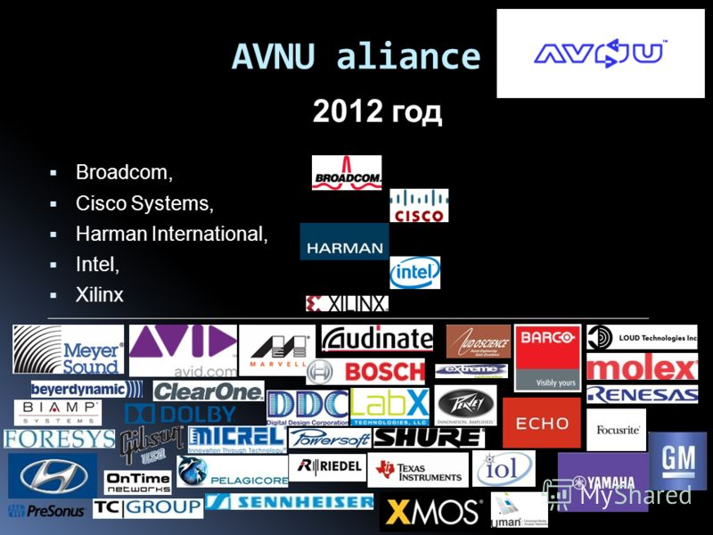 AVNU aliance 2012 год Broadcom, Cisco Systems, Harman International, Intel, Xilinx