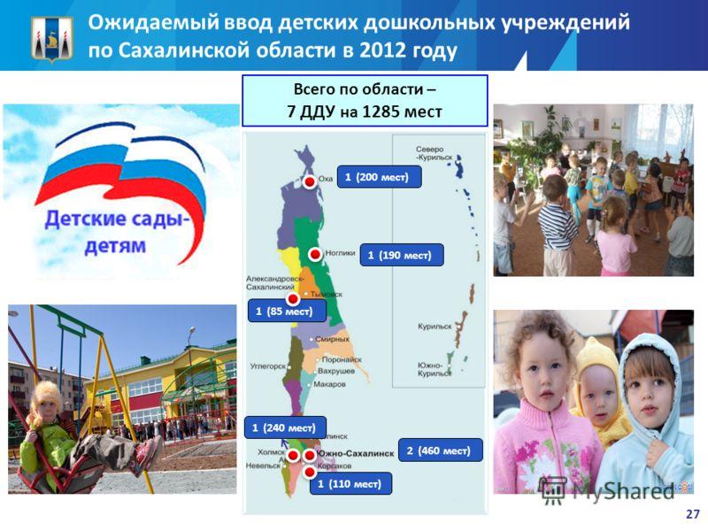 27 1 (200 мест) Всего по области – 7 ДДУ на 1285 мест 1 (190 мест) 1 (85 мест) 1 (240 мест) 2 (460 мест) 1 (110 мест) Ожидаемый ввод детских дошкольных учреждений по Сахалинской области в 2012 году