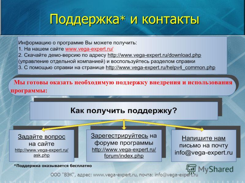 ООО ВЭК, адрес: www.vega-expert.ru, почта: info@vega-expert.ru Поддержка * и контакты