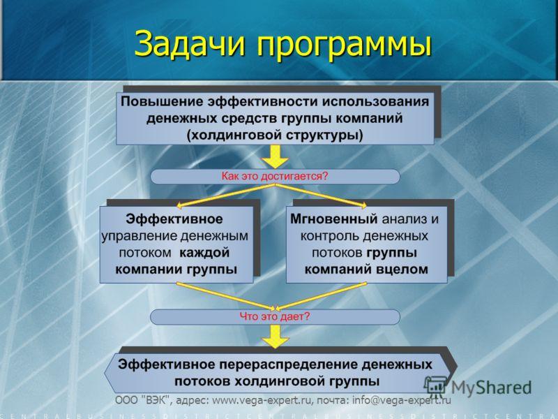 ООО ВЭК, адрес: www.vega-expert.ru, почта: info@vega-expert.ru Задачи программы