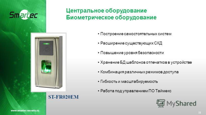 Центральное оборудование Биометрическое оборудование 11 www.smartec-security.ru Построение самостоятельных систем Расширение существующих СКД Повышение уровня безопасности Хранение БД шаблонов отпечатков в устройстве Комбинация различных режимов дост