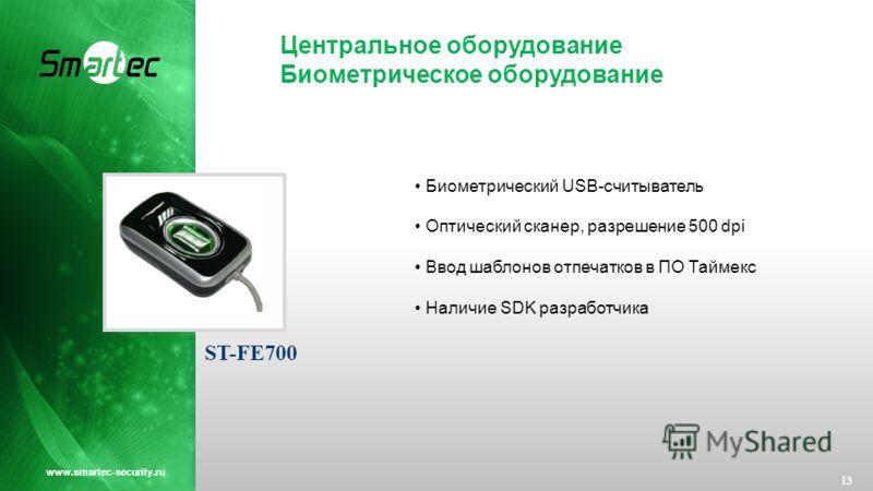 Центральное оборудование Биометрическое оборудование 13 www.smartec-security.ru Биометрический USB-считыватель Оптический сканер, разрешение 500 dpi Ввод шаблонов отпечатков в ПО Таймекс Наличие SDK разработчика ST-FE700