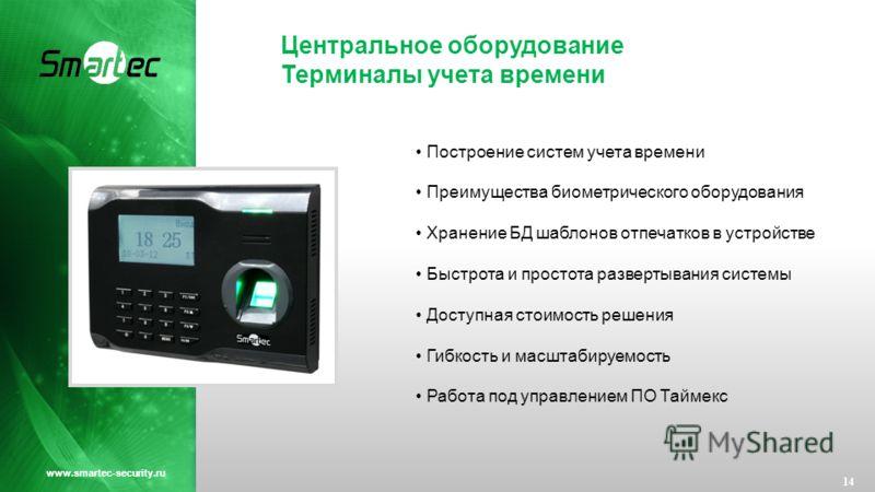 Центральное оборудование Терминалы учета времени 14 www.smartec-security.ru Построение систем учета времени Преимущества биометрического оборудования Хранение БД шаблонов отпечатков в устройстве Быстрота и простота развертывания системы Доступная сто