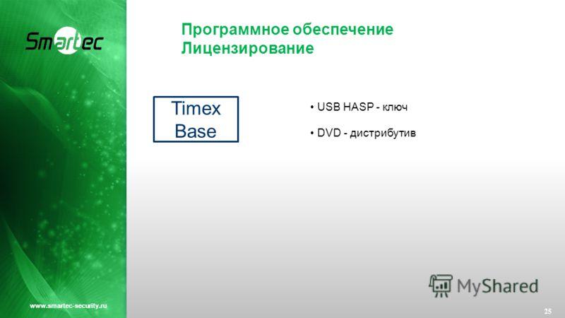 Программное обеспечение Лицензирование 25 www.smartec-security.ru Timex Base USB HASP - ключ DVD - дистрибутив