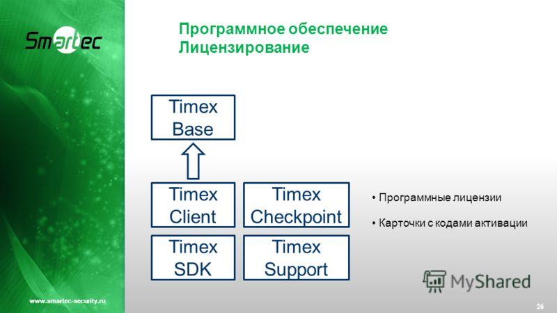 Программное обеспечение Лицензирование 26 www.smartec-security.ru Timex Base Timex Client Timex Checkpoint Timex SDK Timex Support Программные лицензии Карточки с кодами активации