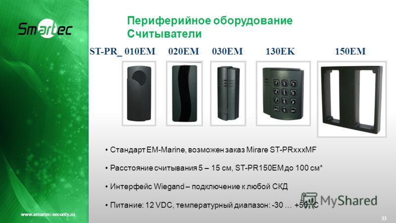 Периферийное оборудование Считыватели 33 www.smartec-security.ru Стандарт EM-Marine, возможен заказ Mirare ST-PRxxxMF Расстояние считывания 5 – 15 см, ST-PR150EM до 100 см* Интерфейс Wiegand – подключение к любой СКД Питание: 12 VDC, температурный ди