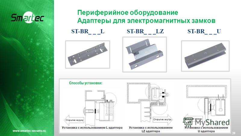 Периферийное оборудование Адаптеры для электромагнитных замков 39 www.smartec-security.ru ST-BR_ _ _LST-BR_ _ _LZST-BR_ _ _U