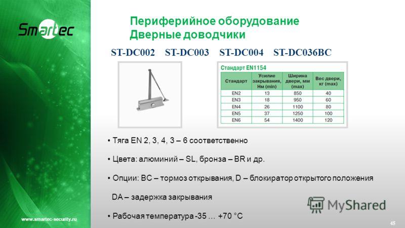 Периферийное оборудование Дверные доводчики 45 www.smartec-security.ru Тяга EN 2, 3, 4, 3 – 6 соответственно Цвета: алюминий – SL, бронза – BR и др. Опции: BC – тормоз открывания, D – блокиратор открытого положения DA – задержка закрывания Рабочая те