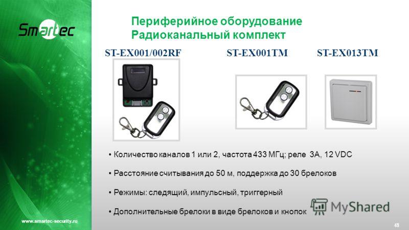Периферийное оборудование Радиоканальный комплект 48 www.smartec-security.ru Количество каналов 1 или 2, частота 433 МГц; реле 3А, 12 VDC Расстояние считывания до 50 м, поддержка до 30 брелоков Режимы: следящий, импульсный, триггерный Дополнительные