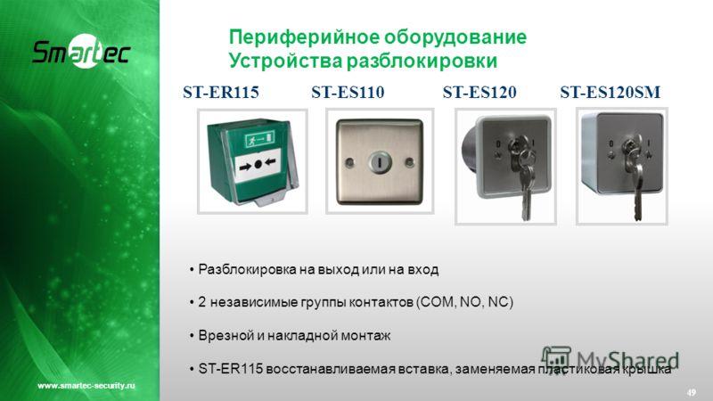 Периферийное оборудование Устройства разблокировки 49 www.smartec-security.ru Разблокировка на выход или на вход 2 независимые группы контактов (COM, NO, NC) Врезной и накладной монтаж ST-ER115 восстанавливаемая вставка, заменяемая пластиковая крышка